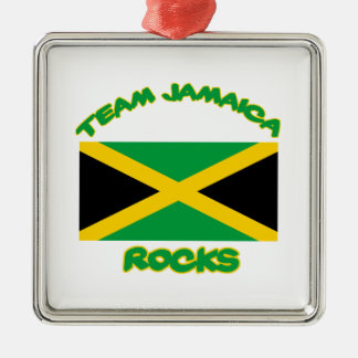 Trending Jamaican DESIGNS Silver-Colored Square Ornament