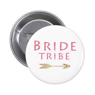 trending pink bride tribe gold foil arrow design 2 inch round button