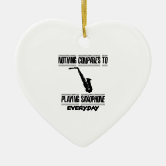 Trending Saxophone designs Ceramic Heart Ornament