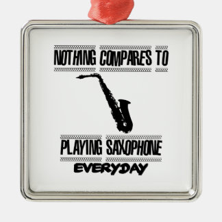 Trending Saxophone designs Silver-Colored Square Ornament