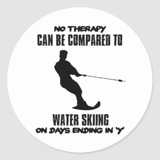 Trending Water skiing designs Classic Round Sticker