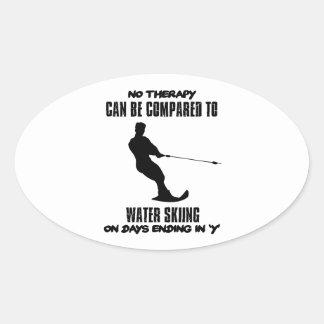 Trending Water skiing designs Oval Sticker