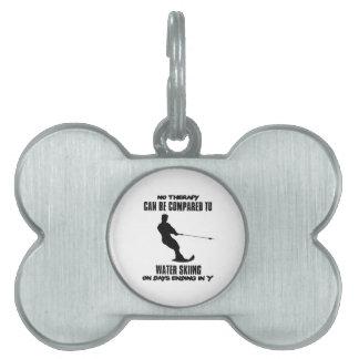 Trending Water skiing designs Pet ID Tag