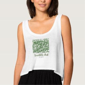 Trendsetting green scribble art tank top