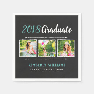 Trendy 3 Photo Collage Graduation Party Paper Napkin