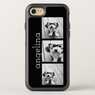 Trendy 3 Photos and Name - CHOOSE BACKGROUND COLOR OtterBox Symmetry iPhone 7 Case