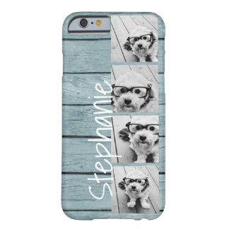 Trendy 4 Photos and Name - Blue Wood print Barely There iPhone 6 Case