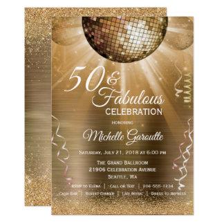 Trendy 50 & Fabulous Gold Invitation