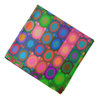 Trendy Abstract Art Colored Circle Grid Bandana