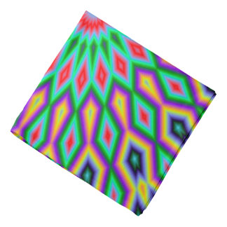 Trendy Abstract-Art Green And Blue Pattern Bandana