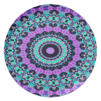 Trendy Abstract Art Purple And Blue Concentric Cir Party Plates
