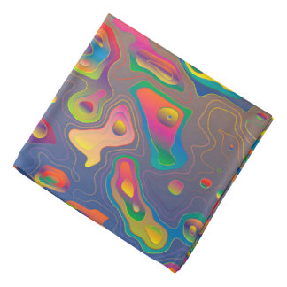 Trendy Abstract Colorful Contour Map Bandana