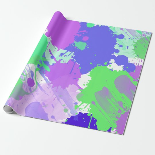 trendy abstract colourful neon brushstrokes wrapping paper
