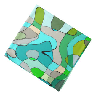 Trendy Abstract Green Contour Background Head Kerchiefs