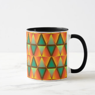 Trendy Abstract Orange And Green Daimond Pattern Mug