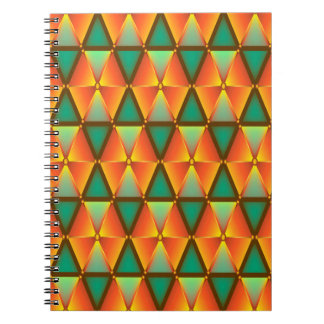 Trendy Abstract Orange And Green Daimond Pattern Note Books