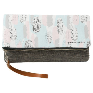 Trendy Abstract Painting Pattern with Your Name Clutch