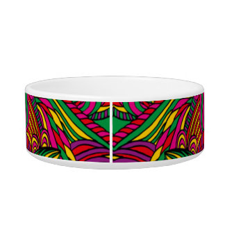 Trendy abstract tribal pattern. Brazil color. Cat Bowl