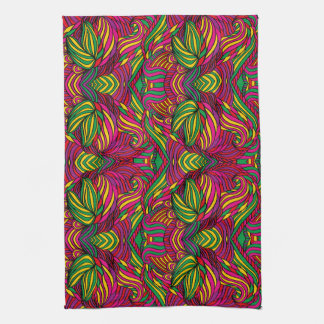 Trendy abstract tribal pattern. Brazil color. Kitchen Towels