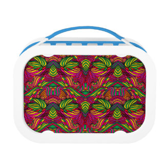 Trendy abstract tribal pattern. Brazil color. Lunch Box