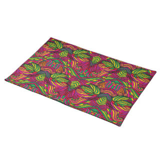Trendy abstract tribal pattern. Brazil color. Placemat