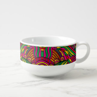 Trendy abstract tribal pattern. Brazil color. Soup Mug