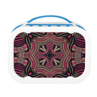 Trendy abstract tribal pattern.  Brown and pink. Lunchbox