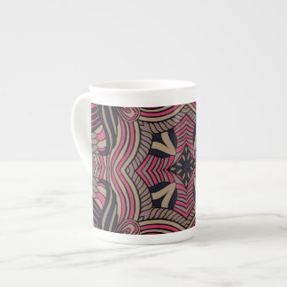 Trendy abstract tribal pattern.  Brown and pink. Tea Cup