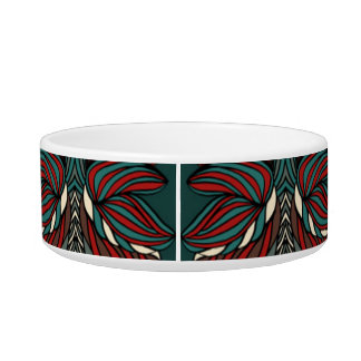 Trendy abstract tribal pattern.  Red and green. Bowl