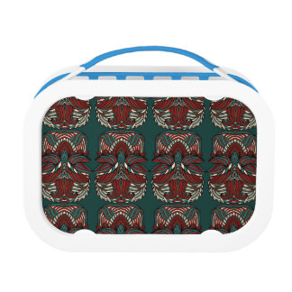 Trendy abstract tribal pattern.  Red and green. Lunch Box