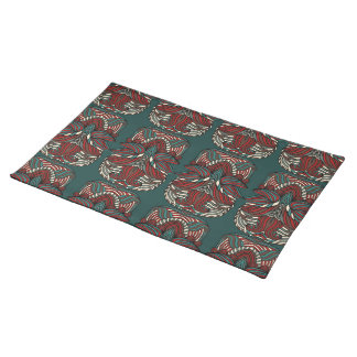 Trendy abstract tribal pattern.  Red and green. Placemat