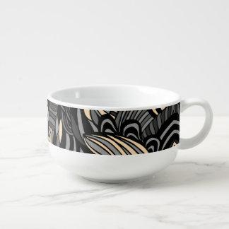 Trendy abstract tribal pattern. soup mug