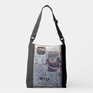 Trendy across body bag featuring original graffiti