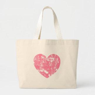 Trendy and Modern Soft Pink Grunge Heart V02 Large Tote Bag