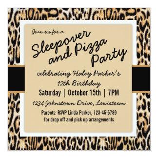 "Trendy Animal Print Tween/Teen Birthday Party 5.25"" Square Invitation Card"