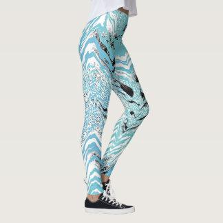 Trendy Aqua Blue Black White Chevron ZigZag Leggings