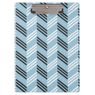 Trendy Aqua Blue Zigzag Geometric Pattern Clipboard