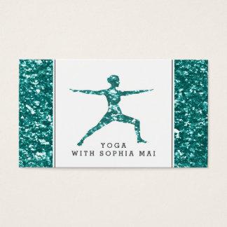 Trendy Aqua Glitter Effect Yoga Instructor Business Card