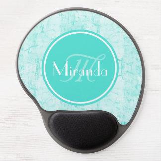 Trendy Aqua Mint Crackle Pattern With Monogram Gel Mouse Pad