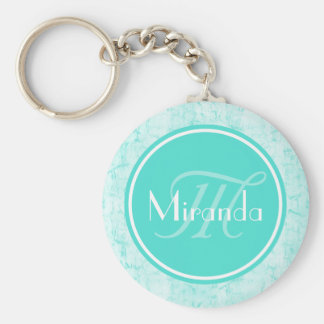 Trendy Aqua Mint Crackle Pattern With Monogram Keychain
