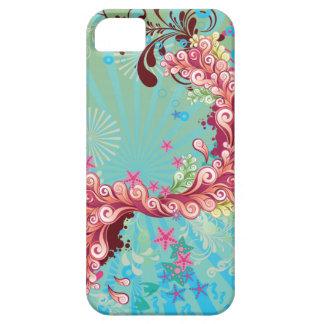 Trendy aqua pink ocean swirls iphone 5 case