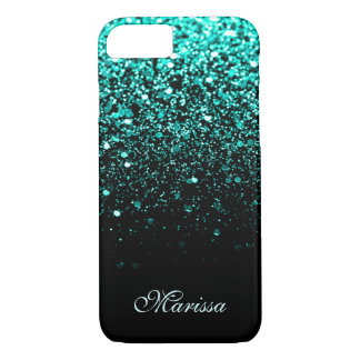 Trendy Aqua Teal Green Glitter Black iPhone 8/7 Case