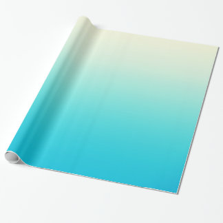 Trendy Aqua Teal to Vintage White Ombre Gradient Wrapping Paper