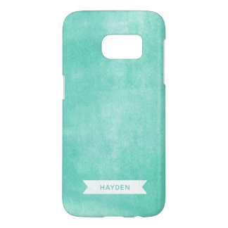 Trendy Aqua Turquoise Rolled Ink Samsung Galaxy S7 Case