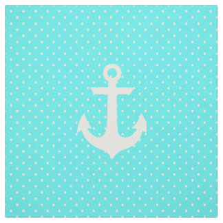Trendy aqua white nautical anchor polka dots fabric