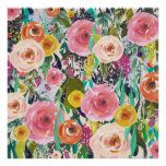 Trendy Art Painted Flowers Poster Art Print