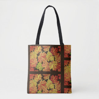 Trendy Autumn Orange Leaves with Brown Tote Bag