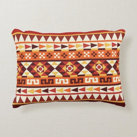 Trendy Autumnal Colours Aztec Pattern Accent Pillow
