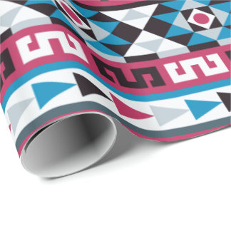 Trendy Aztec Ethnic Pattern Raspberry and Blue Wrapping Paper