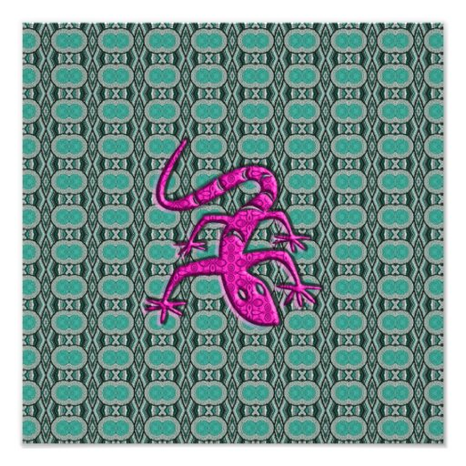 Trendy Aztec Lizzard in Pink and Teal Photograph